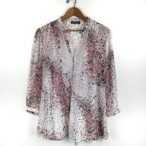 APT.9 Sheer Floral Top w Attached Tank, L